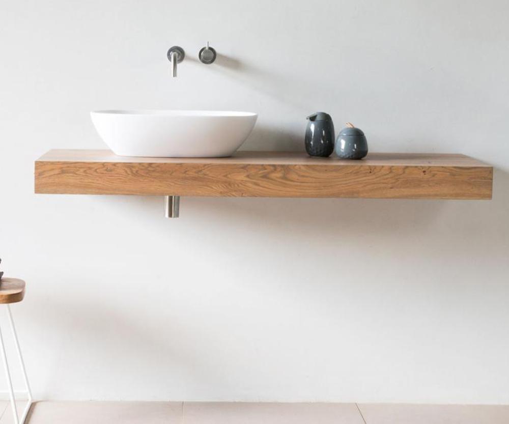 Waschtischplatte flow aus eiche massivholz spa ambiente - Holz waschtischplatte ...
