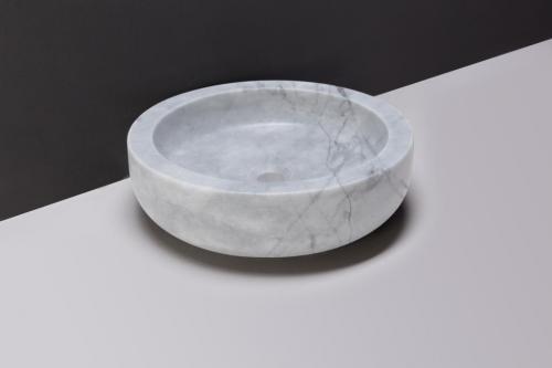 Naturstein Aufsatzwaschbecken VERONA Carrara rund