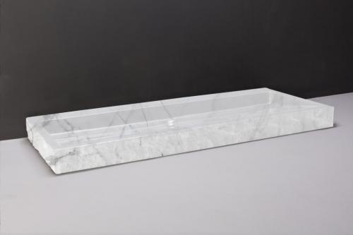 Naturstein Waschtisch PALERMO Carrara bossiert, innen poliert