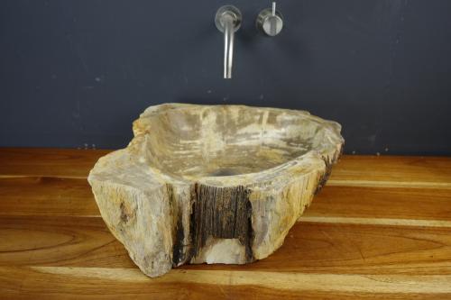 Natursteinwaschbecken versteinertes Holz | Unikat#B - Jan - M06