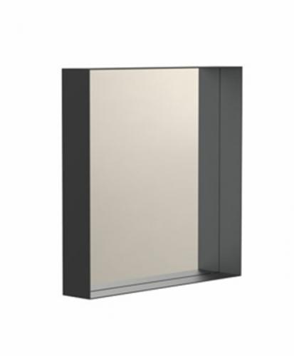 """Spiegel """"UNU"""" eckig, schwarz mit Ablagerahmen 7cm Tiefe   FROST"""