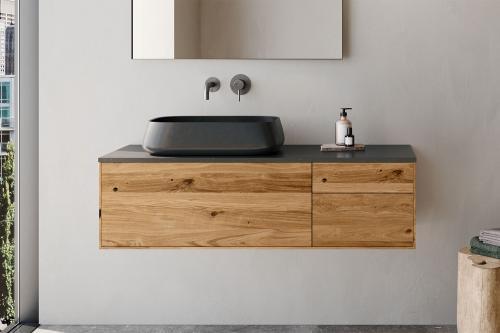 """Waschtischunterschrank """"INSA"""" aus Massivholz inkl. Deckplatte aus Naturstein   LAPIDISPA®"""