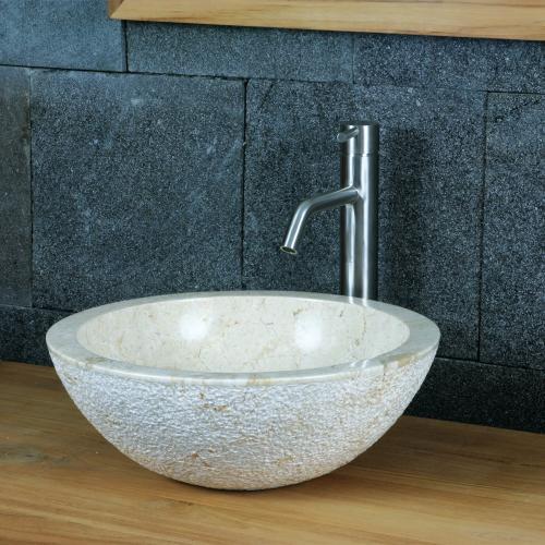 """Natursteinwaschbecken """"bowl+"""" Marmor rund 40 cm"""