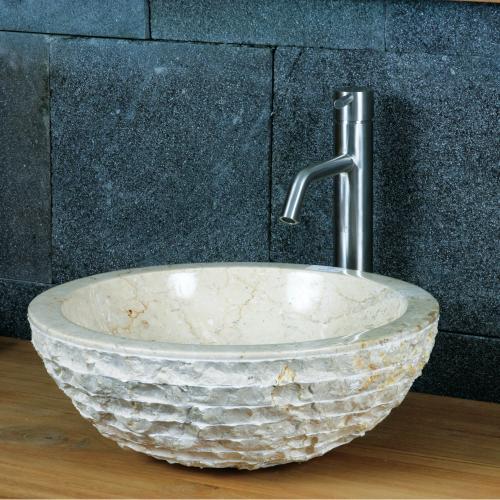 """Natursteinwaschbecken """"natural bowl"""" Marmor rund 45 cm"""
