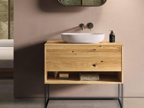 """""""Genero"""" Waschtischunterschrank aus Massivholz mit 2 Schubfächern, 1 Fach stehend mit Metalluntergestell von LAPIDISPA®"""