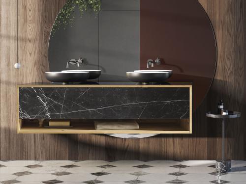 """Genero"" Waschtischunterschrank aus Massivholz inkl. Keramik-Oberfläche   Lapidispa®"