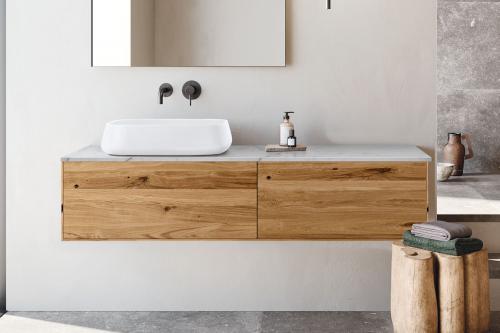 """""""Insa"""" Waschtischunterschrank aus Massivholz inkl. Deckplatte aus Naturstein   Lapidispa®"""