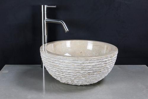 """Natursteinwaschbecken """"natural bowl"""" Marmor rund 35 cm"""