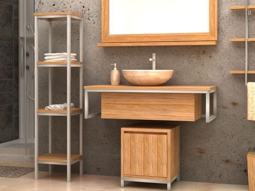 """Loft"" Waschtischunterschrank Teak + Metall"