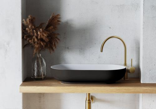 """""""Gaia"""" Aufsatzwaschbecken aus senstone®, außen schwarz, 5 Jahre Garantie   Lapidispa®"""