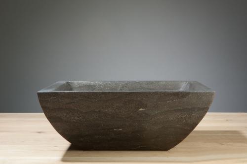 Naturstein Aufsatzwaschbecken SIRACUSA Bluestone matt poliert 40 cm