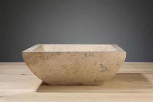 Naturstein Aufsatzwaschbecken SIRACUSA Travertin matt poliert 40 cm