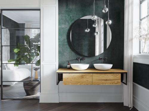 """""""Loft"""" Waschtischunterschrank Wildeiche """"Pure"""" + Metall schwarz 140 cm"""