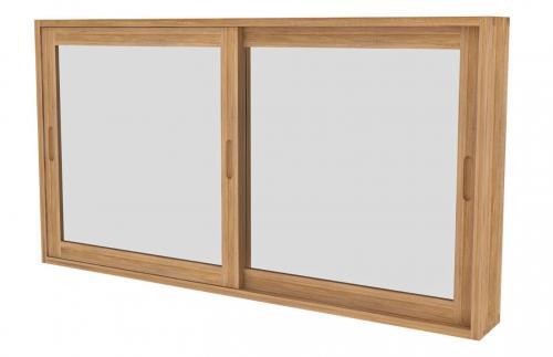 Spiegelschrank mit Schiebetüren aus Teak 80 cm