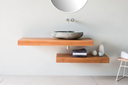 Waschtischplatte aus massivem Teak Holz in verschiedenen Längen