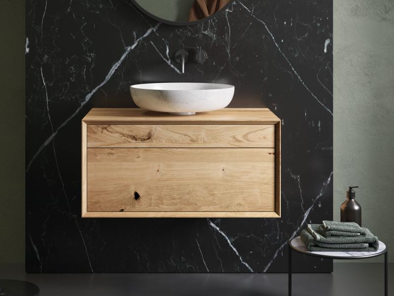"""""""Mero plus"""" Waschtischunterschrank  aus Massivholz mit 2 Schubladen hängend   Lapidispa®"""