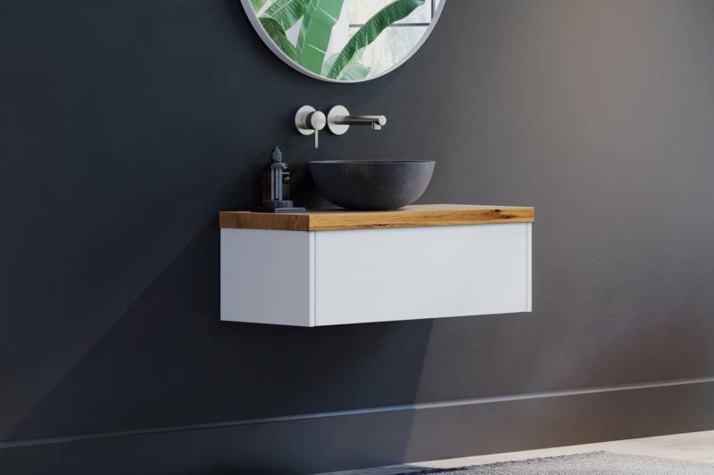 """""""Finja"""" Unterschrank weiß matt   Waschtischplatte aus Eiche ohne Baumkante   1 Schublade"""