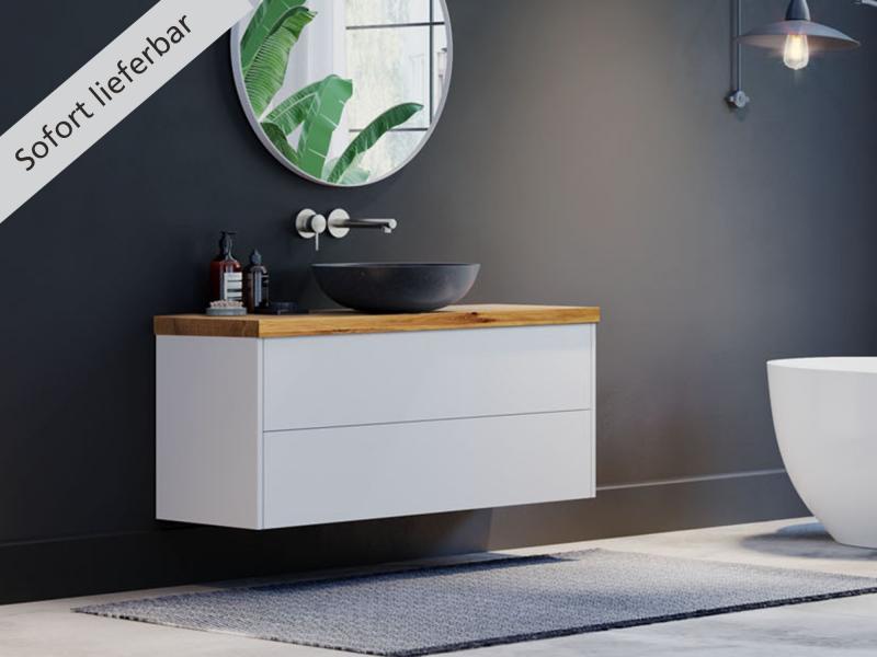 """""""Finja"""" Unterschrank weiß matt   Waschtischplatte aus Eiche ohne Baumkante   2 Schubladen"""