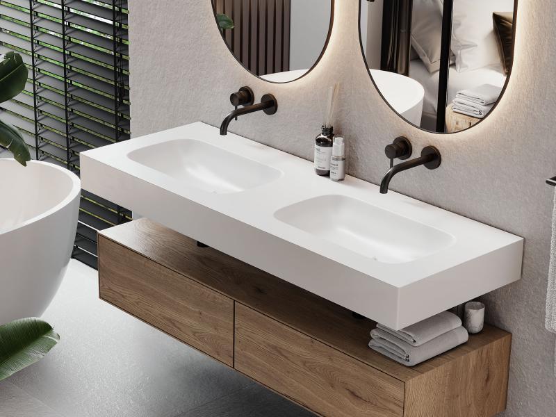 """""""Flow+"""" Waschtisch aus Corian® weiß Glacier White mit Beckenmulden"""