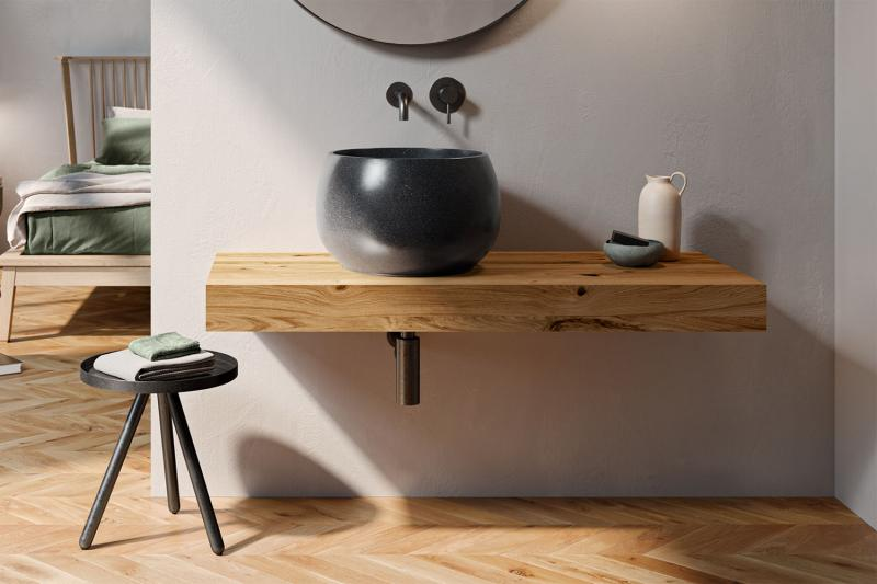 """Flow"" Waschtischplatte aus Massivholz inkl. Wandbefestigung   Lapidispa®"