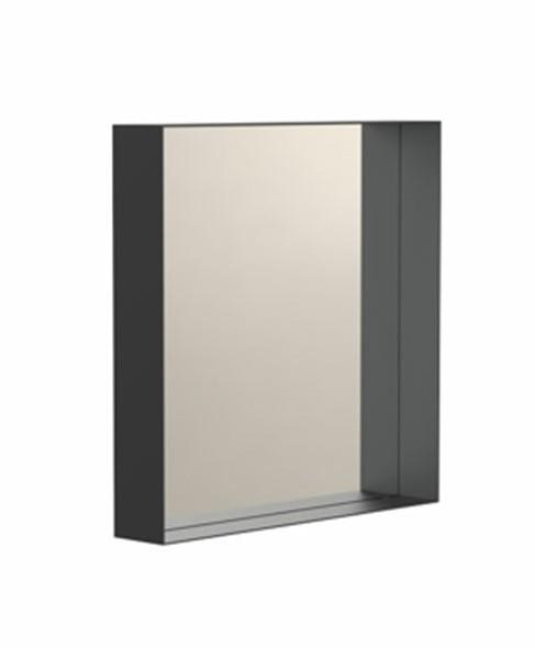 """""""Unu"""" eckiger Spiegel schwarz mit Ablagerahmen 7 cm Tiefe   FROST"""