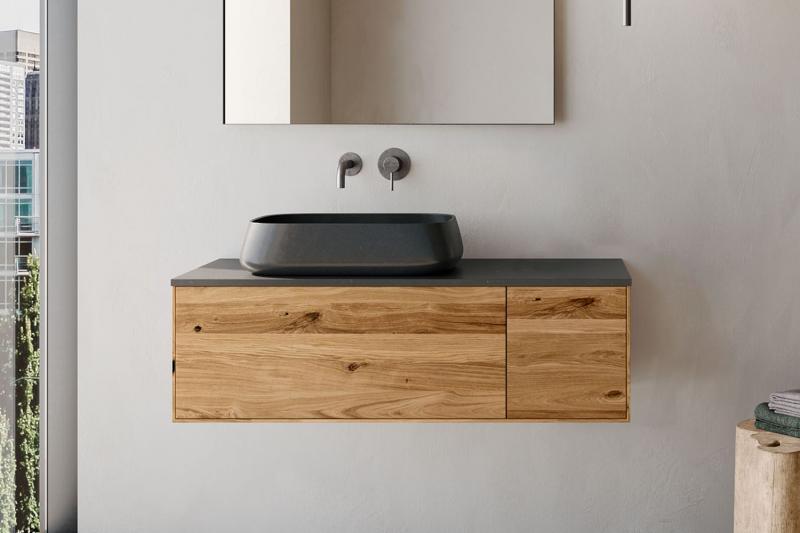 """""""Insa"""" Waschtischunterschrank aus Massivholz 90 cm mit Deckplatte aus Naturstein   Lapidispa®"""
