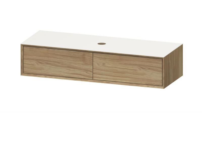 """""""Univo plus"""" Waschtischunterschrank aus Massivholz Eiche """"sole"""" 140 cm Breite   Lapidispa®"""