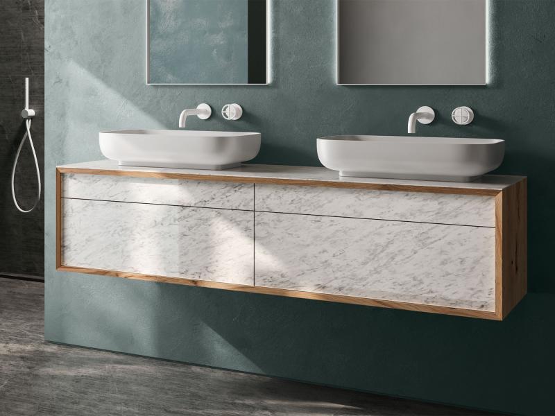 """Mero plus"" Waschtischunterschrank aus Massivholz inkl. Keramik-Oberfläche   Lapidispa®"