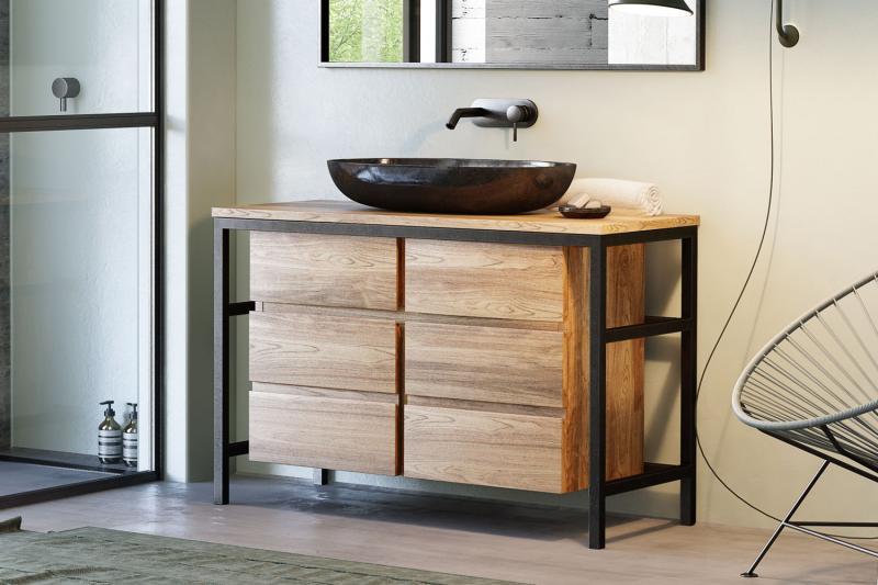 """""""Whiz"""" Waschtischunterschrank   Einzelwaschtischanlage   aus Teak + Metall schwarz 120 cm"""