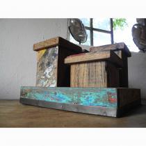 4 Boxen inkl. Tablett aus Bootsholz (Recycled Teak)