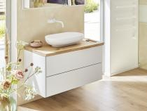 """""""FINJA"""" Unterschrank   Sofort lieferbar   Waschtischplatte aus Eiche mit Baumkante   100x45x29 cm"""