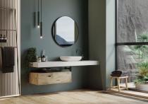 """""""Flow"""" Waschtischplatte aus Corian® weiß Glacier White inkl. Wandbefestigung"""