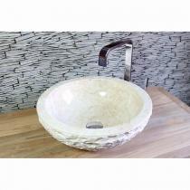 """Natursteinwaschbecken """"natural bowl"""" Marmor rund 40 cm"""