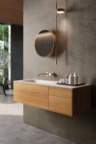 """""""Insa"""" Waschtischunterschrank 120 cm aus Massivholz inkl. Waschtisch aus Corian® von Lapidispa®"""