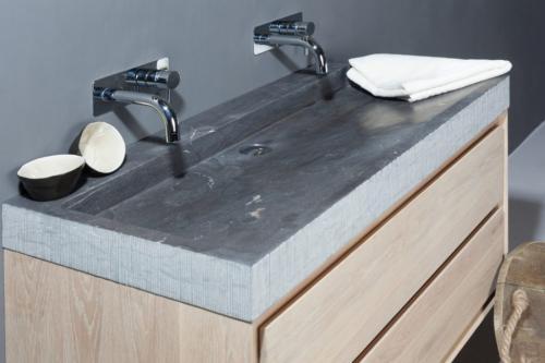 waschbeckenunterschrank todi h ngend aus eiche massivholz 2 schubladen bereinander 160 x 60. Black Bedroom Furniture Sets. Home Design Ideas