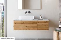 """""""Insa"""" Waschtischunterschrank aus Massivholz inkl. Deckplatte aus weißem Marmor von Lapidispa®"""