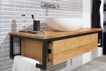 """""""Loft"""" Waschtischunterschrank aus Teak + Metall schwarz 120 cm"""