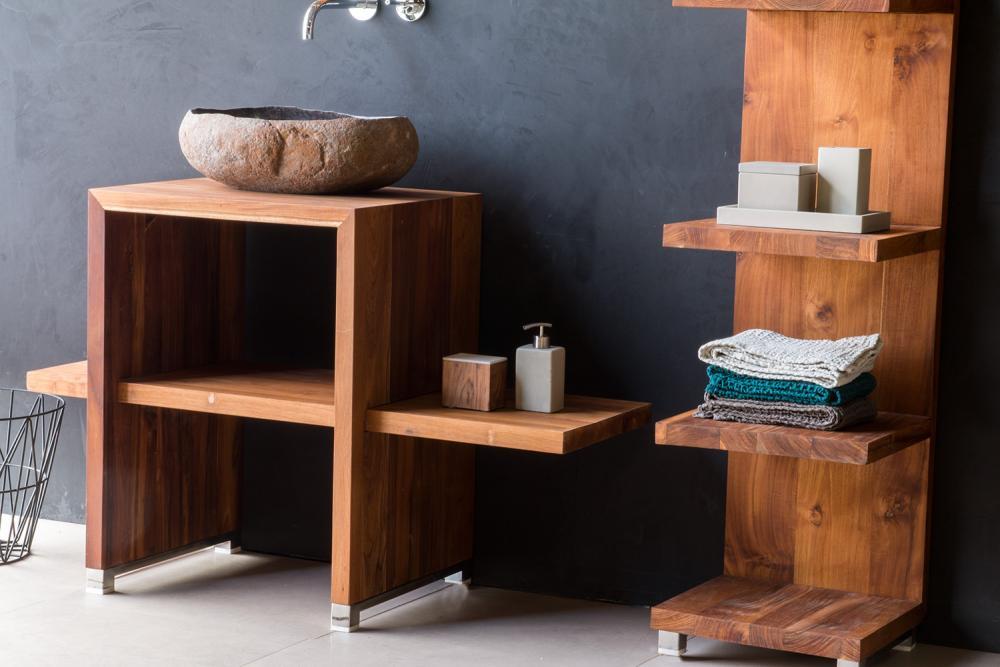 waschtisch waschbeckenschrank badezimmer unterschrank 40 mm massiv holz teak ebay. Black Bedroom Furniture Sets. Home Design Ideas