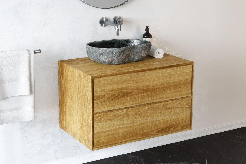 waschtischunterschrank apelia eiche massiv 2 schubladen. Black Bedroom Furniture Sets. Home Design Ideas