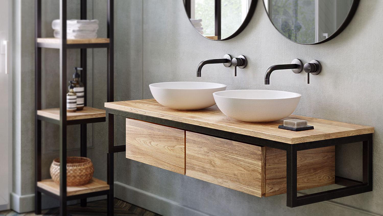waschtischunterschrank loft teak metall spa ambiente. Black Bedroom Furniture Sets. Home Design Ideas