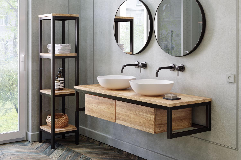 waschtischunterschrank loft float teak metall spa. Black Bedroom Furniture Sets. Home Design Ideas