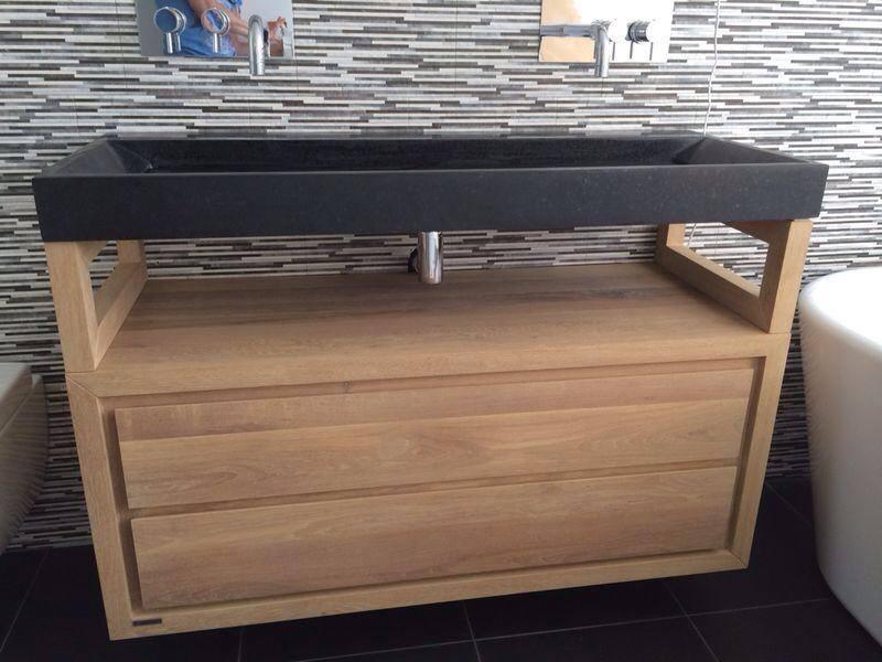waschbeckenunterschrank gela h ngend aus eiche massivholz 2 schubladen bereinander 80 x 51. Black Bedroom Furniture Sets. Home Design Ideas