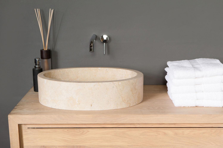 naturstein aufsatzwaschbecken firenze travertin matt poliert 50 cm spa ambiente. Black Bedroom Furniture Sets. Home Design Ideas