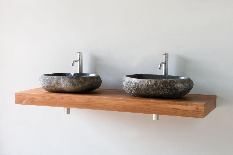 waschtischplatte aus massivem teak holz in verschiedenen l ngen spa ambiente. Black Bedroom Furniture Sets. Home Design Ideas